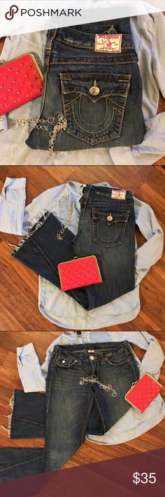 True Religion Distressed Denim *Host Pick 3/30* Super cool for the free-spirited.  Stylish.  True Religion.  Medium dark flare leg cutoff jeans.  Good condition.  100% Cotton.  Size 30.  Really comfy.  Make me an offer I can't refuse and they're yours. True Religion Jeans Flare & Wide Leg