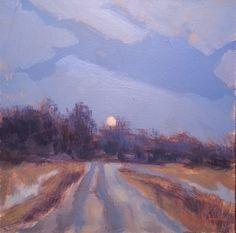 Heidi Malott Original Paintings: Winter Moon Rising Impressionism Original Oil Pain...