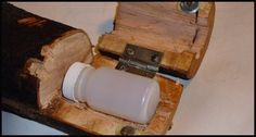 Original Pinner: A difficult project: hollowing out a wooden log. The end is split and a hinge is attached. We also added a magnet to one side and a washer ...