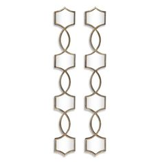 """Venice Mirror - Set of 2 from Z Gallerie   6""""W x 45""""H (per mirror).  Each ornate mirror features a column of mirrors over 4' long and is made out of hand forged metal in a plated oxidized silver finish. Can be hung horizontal or vertical."""