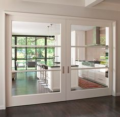 Over-Sized Interior Glass Doors +Crestbrook Kitchen Doors + Tatum Brown Custom Homes Sweet Home, Kitchen Doors, Closed Kitchen, Kitchen Dining, Huge Kitchen, Kitchen Cabinets, Kitchen Tables, Room Kitchen, Kitchen Ideas