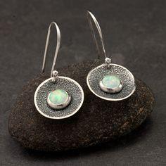 Opal Earrings- Sterling Silver Earrings- Silver Dangle Earrings- Silver Disc earrings with opal gemstones. $48.00, via Etsy.