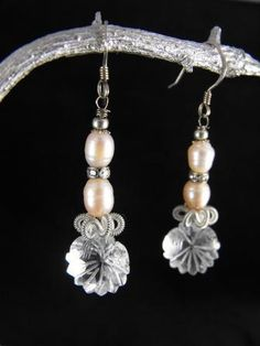 Clear Quartz Earrings Floral Motif Carved In Clear by hipcricket
