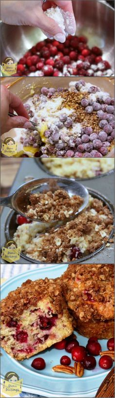 Cranberry Orange Muffins with Brown Sugar Pecan Crumble Topping - This sweet, tender muffin is a joy when paired with the juicy burst of tangy cranberries and the sweet crunchy topping.  It's a nice balance without having just an overly sweet muffin.  Step-by-step photos!