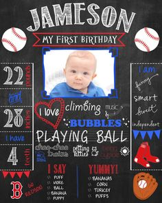 Baseball Birthday Chalkboard Sign for Birthday Party or Photoshoot - PRINTABLE Poster Birthday Milestones