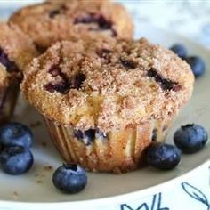 Extra big blueberry muffins are topped with a sugary-cinnamon crumb mixture in this souped-up blueberry muffin recipe.