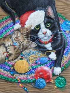 """""""The Kitties are all Ready for Christmas and Just Waiting for You"""" par Joy Campbell"""