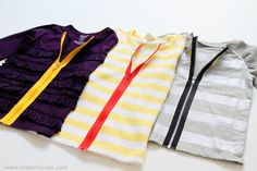 Exposed Zipper tutorial...love the contrast!