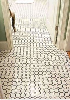 Classic Octagon Floor Luxe Octagon & Dot White Floor with dark grey grout! Simple and Classy