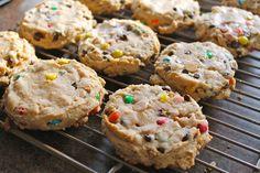 Soft Monster Cookies - butter, brown sugar, white sugar, creamy peanut butter, egg, vanilla, baking soda, flour, oats, M, chocolate chips, peanut butter chips