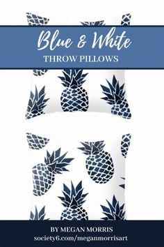 Blue Throw Pillows, Blue and White Pillows for for Living Room or Bedroom Decor, Navy Blue Throw Pillows, Blue And White Pillows, Diy Pillows, Floor Pillows, Decorative Pillows, Pineapple Decorations, Blue Denim, Pillow Covers, Bedroom Decor
