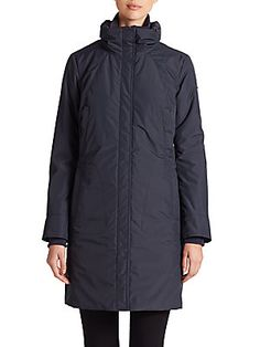 Andrew Marc Hooded City Parka - Navy - Size