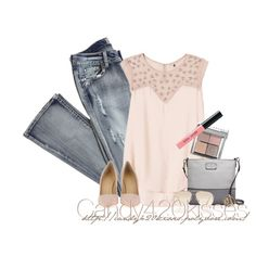 A fashion look from February 2014 featuring pink blouse, bootcut jeans and Giuseppe Zanotti. Browse and shop related looks. Party Fashion, Look Fashion, Fashion Outfits, Womens Fashion, Fashion Trends, Purple Fashion, Fashion Sets, Classy Outfits, Casual Outfits