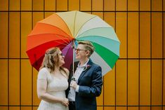 A portrait photograph of a wedding couple stood together smiling underneath a rainbow coloured umbrella in the city centre of Manchester Wedding Couples, Wedding Day, Photography Ideas, Wedding Photography, Rainbow Colors, Manchester, Amanda, Centre, Photoshoot