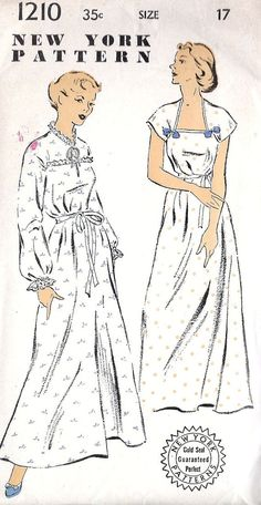 1940s Misses Nightgown Vintage Sewing Pattern Vintage Dress Patterns, Clothing Patterns, Vintage Dresses, Vintage Outfits, Vintage Nightgown, Retro Clothing, Sewing Lingerie, Vintage Lingerie, 1940s Fashion