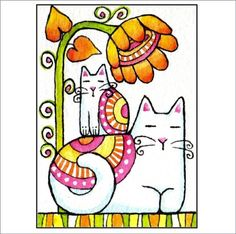 Mod Mom Cat and Kitten in Groovy Garden/ Art Print by SusanFayePetProjects