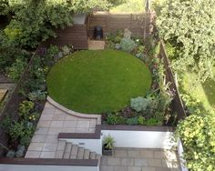 photo of contemporary split level circle robert james landscapes garden and landscaped patio