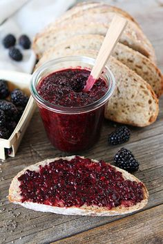 Blackberry Chia Seed Jam Recipe on twopeasandtheirpod.com. This jam is SO easy & delicious! No canning required! {clean eating}