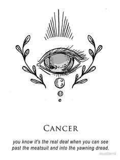 'Cancer – Shitty Horoscopes Book V: Love Sells' Sticker by musterni - astrology Horoscope Tattoos, Cancer Tattoos, Cancer Horoscope, Cancer Zodiac Art, Cancer Astrology, Zodiac Sign Tattoos, My Zodiac Sign, Zodiac Quotes, Quotes Quotes