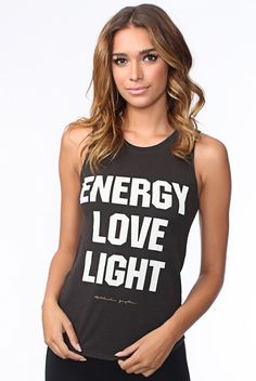 Spiritual Gangster Energy Love Light Muscle Tee in Faded Black