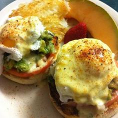 California Eggs Benedict with tomato and avocado salsa @ West Bank Diner in Minneapolis. #avocado #eggs #breakfast