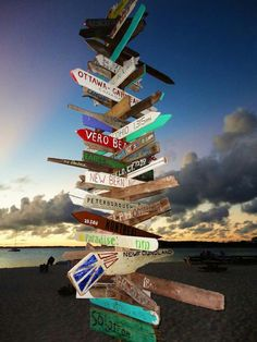 I want one of these for the pool area that points to all the places we have lived/loved!