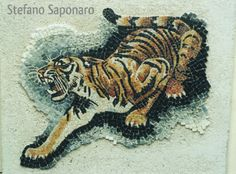 Tigre in marmi tagliati Rooster, Mosaic, Moose Art, Gallery, Animals, Art, Animais, Animales, Animaux