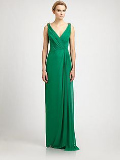Badgley Mischka Silk Chiffon Gown, Simple yet elegant for a  black tie event.