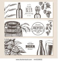 Banner set. Vector illustration in sketch style. Hand drawn beer horizontal banners. Line drawing