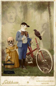 Memory lane - John Williams - Anthropomorphic digital collage altered vintage photo