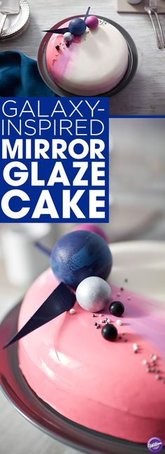 A sweet and shiny glaze tops this Galaxy-Inspired Mirror Glaze Cake, giving it a glossy finish that's out of this world! Great for birthdays, showers or just because, this mirror glaze cake features glazes in three colors and is topped with edible accents that help give this cake movement and dimension. Use the Wilton Contour Pan to create a cake with round smooth edges, perfect for glazing.