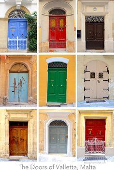 A collage featuring the doors of Valletta, Malta