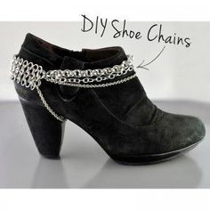 on boots or shoes. DIY-Chainmaille-Shoe-Chains do this yourself . on boots or shoes. Chainmaille, Diy Fashion, Fashion Shoes, Fashion Hacks, Ugg Boots, Shoe Boots, Boot Bracelet, Boot Jewelry, Boot Bling