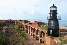 Lighthouse at Fort Jefferson, Dry Tortugas National Park, Key West, Florida