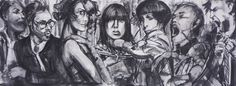 Lobster Party, Figurative, charcoal on canvas, Gerard Byrne, www.gerardbyrneartist.com SOLD