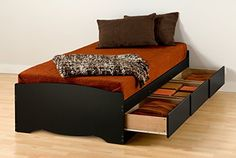 """This #Twin XL Storage Bed is 5 inches longer than a standard twin making it ideal for teenagers and College students. Underneath are 3 large storage drawers (20""""..."""