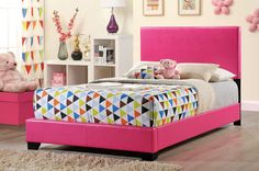 8103 PU Bed by Global Furniture  Stylish upholstered bed  Pink finish Block wooden legs  Available in twin and full sizes