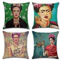 Joyi 4 Pack Frida Kahlo Self-portrait Cotton Linen Throw Pillow Case Car Cushion Cover 1 Mexican Furniture, Home Decor Furniture, Pablo Picasso, Mexican Home Decor, Mexican Decorations, Throw Pillow Cases, Throw Pillows, Mexican Pillows, Program Design