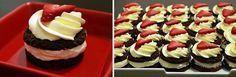 chocolate ripple arnott& arnotts small bite size dessert with cream and strawberry. with recipe. Xmas Desserts, Bite Size Desserts, Sweet Desserts, Fun Baking Recipes, Cake Recipes, Dessert Recipes, Choc Ripple Cake, Christmas Cooking, Christmas Foods