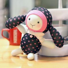 Pink Polka Dot Handmade Baby Doll Sock Toy Sock DIY Kit Toy Stuffed Baby