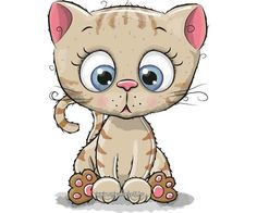 Illustration about Cute Cartoon Kitten isolated on a white background. Illustration of animals, illustrations, cheerful - 82344301 Kids Cartoon Characters, Cute Characters, Cartoon Kids, Cartoon Images, Cute Cartoon, Kitten Cartoon, Cute Clipart, Kittens Cutest, Cat Art