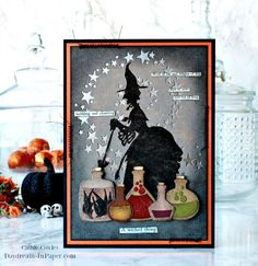 Great card made with Tim Holtz dies for Halloween. gift fabric A Wicked Thing - Happy Halloween - Daydreams In Paper Fall Cards, Holiday Cards, Fröhliches Halloween, Tim Holtz Dies, Girls Dollhouse, Shabby, Diy Halloween Decorations, Making Ideas, Copic