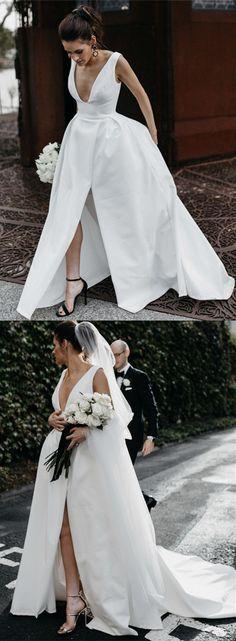 Sexy Leg Split Plunge V-neck Long Satin Wedding Dresses