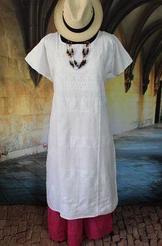 Long White on White, Amuzgo Huipil Hand woven Oaxaca Mexico Hippie Boho Santa Fe #Handmade #Huipildress