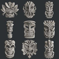 This STL models for CNC set 9 models totems is just one of the custom, handmade pieces you'll find in our digital shops. Tiki Tattoo, Totem Tattoo, Cnc Router, Totem Tiki, Totems, Maya Art, Tiki Maske, Tiki Head, 3d Art