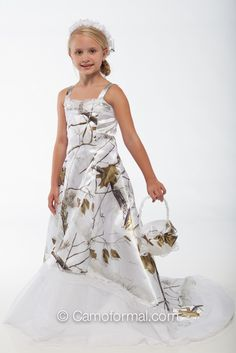 "Snow Camo Wedding Dresses | Home / 3010fg ""Maddy"" Flower-girl dress with bridal train"