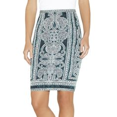 Herve Leger Tempes Bohemian Floral Jacquard Skirt (€360) ❤ liked on Polyvore featuring skirts, peacock combo, pattern skirt, floral skirt, print pencil skirt, peacock skirt and elastic waist pencil skirt