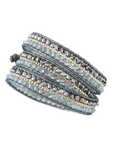 Nakamol Czech Crystal Beaded Wrap Bracelet