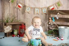 Baby in fishing themed Baby Cake Smash Photo by Brandie Narola Photography