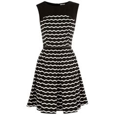 Oasis Ponte Stripe Dress, Black/white ($55) ❤ liked on Polyvore